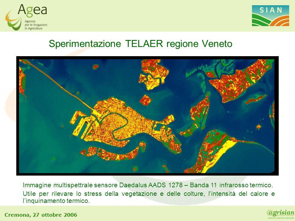 Cremona, 27 ottobre 2006 Sperimentazione TELAER regione Veneto Immagine multispettrale sensore Daedalus AADS 1278 – Banda 11 infrarosso termico. Utile