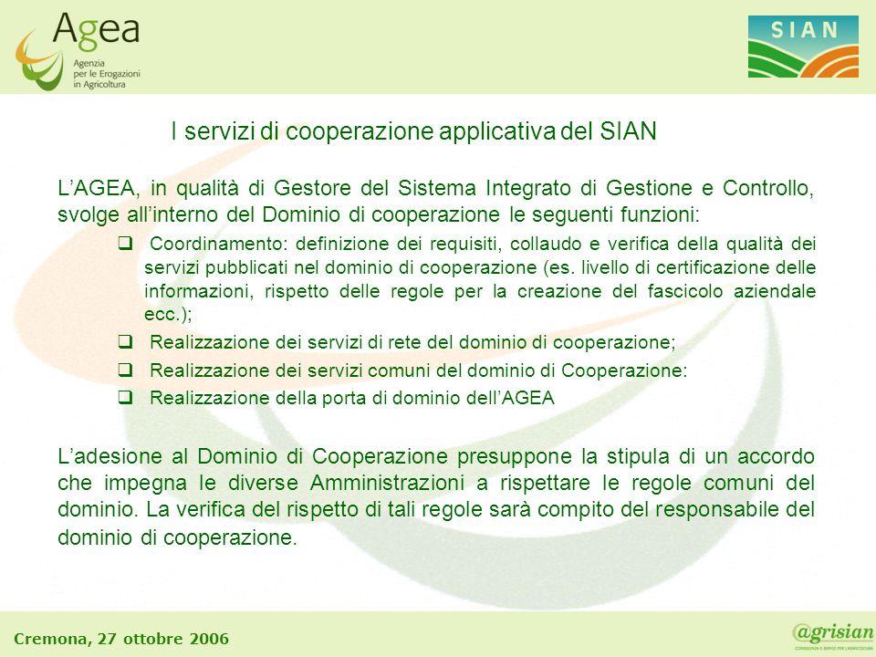 Cremona, 27 ottobre 2006 L'AGEA, in qualità di Gestore del Sistema Integrato di Gestione e Controllo, svolge all'interno del Dominio di cooperazione l