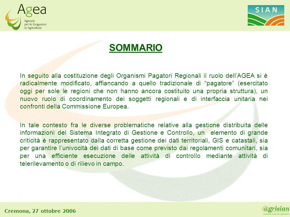 Cremona, 27 ottobre 2006 In seguito alla costituzione degli Organismi Pagatori Regionali il ruolo dell'AGEA si è radicalmente modificato, affiancando