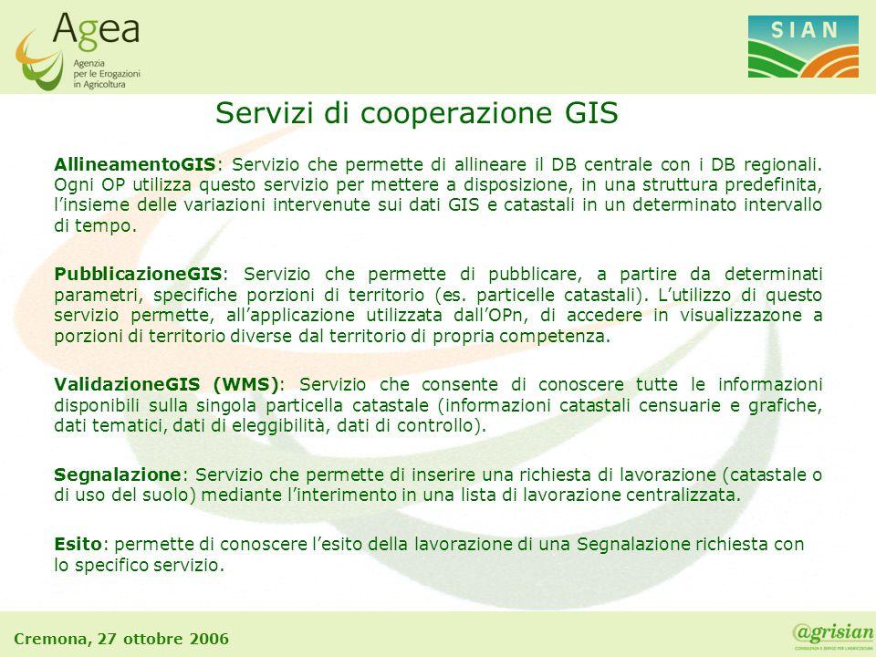 Cremona, 27 ottobre 2006 AllineamentoGIS: Servizio che permette di allineare il DB centrale con i DB regionali. Ogni OP utilizza questo servizio per m
