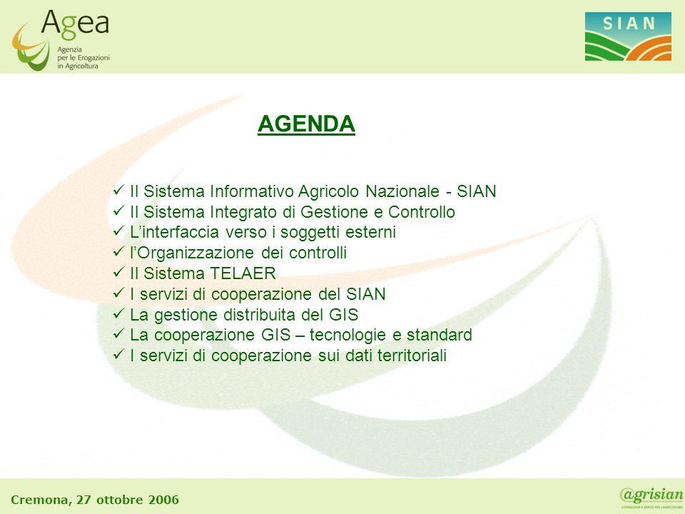 Cremona, 27 ottobre 2006 AGENDA Il Sistema Informativo Agricolo Nazionale - SIAN Il Sistema Integrato di Gestione e Controllo L'interfaccia verso i so