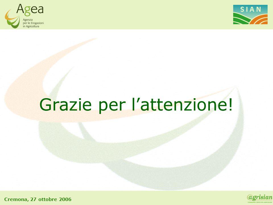 Cremona, 27 ottobre 2006 Grazie per l'attenzione!