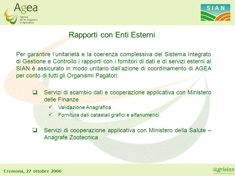 Cremona, 27 ottobre 2006 Rapporti con Enti Esterni Per garantire l'unitarietà e la coerenza complessiva del Sistema Integrato di Gestione e Controllo