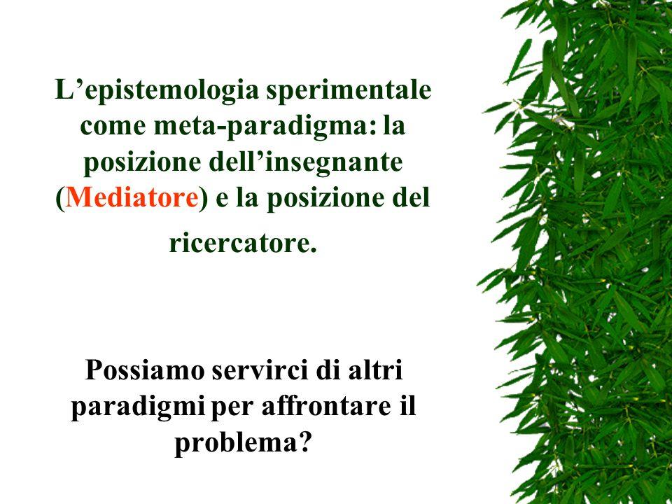 L'epistemologia sperimentale come meta-paradigma: la posizione dell'insegnante (Mediatore) e la posizione del ricercatore.