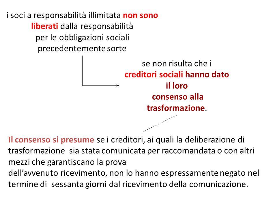 se non risulta che i creditori sociali hanno dato il loro consenso alla trasformazione.