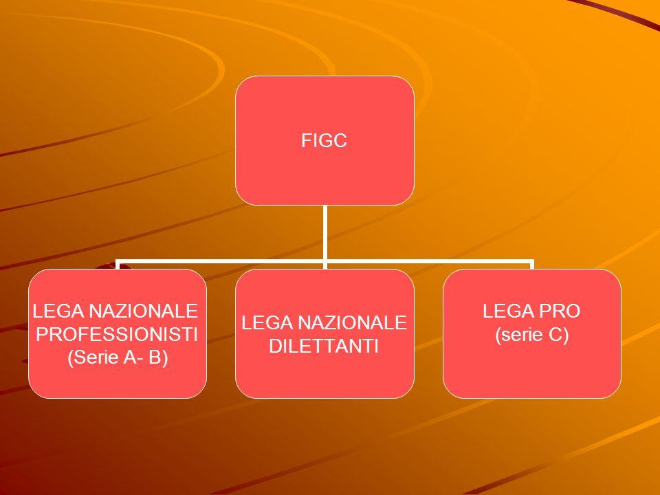 FIGC LEGA NAZIONALE PROFESSIONISTI (Serie A- B) LEGA NAZIONALE DILETTANTI LEGA PRO (serie C)
