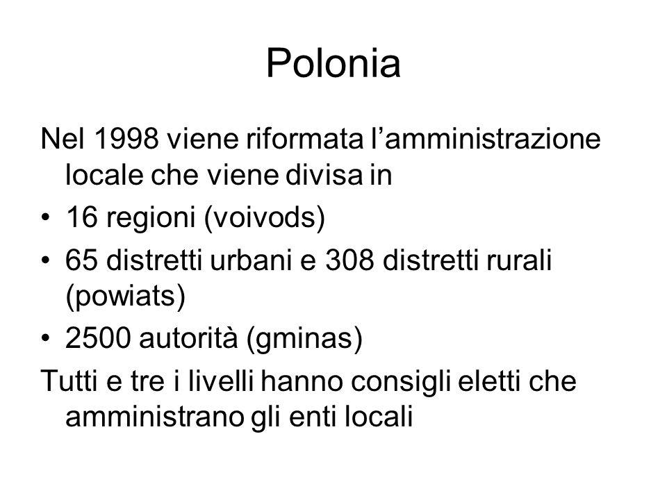 Polonia Nel 1998 viene riformata l'amministrazione locale che viene divisa in 16 regioni (voivods) 65 distretti urbani e 308 distretti rurali (powiats) 2500 autorità (gminas) Tutti e tre i livelli hanno consigli eletti che amministrano gli enti locali