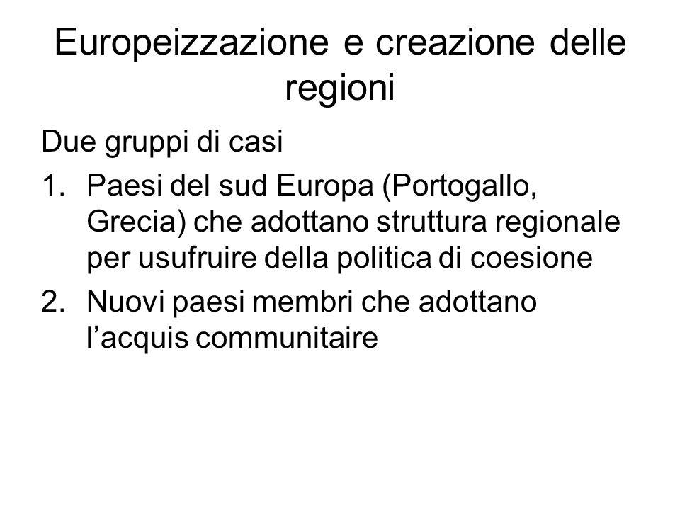 Europeizzazione e creazione delle regioni Due gruppi di casi 1.Paesi del sud Europa (Portogallo, Grecia) che adottano struttura regionale per usufruire della politica di coesione 2.Nuovi paesi membri che adottano l'acquis communitaire