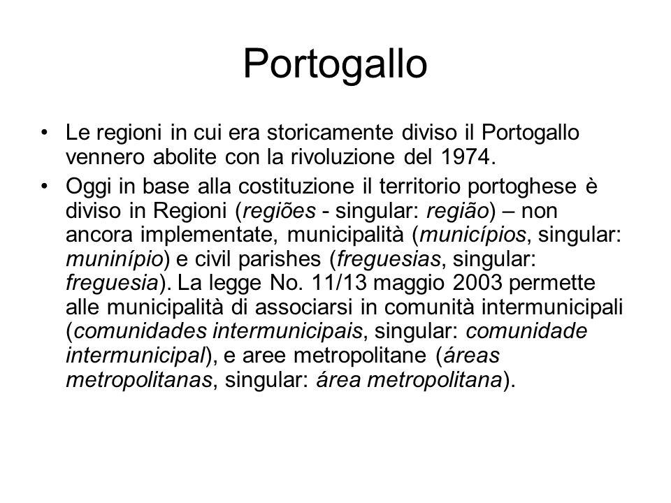 Portogallo Le regioni in cui era storicamente diviso il Portogallo vennero abolite con la rivoluzione del 1974.