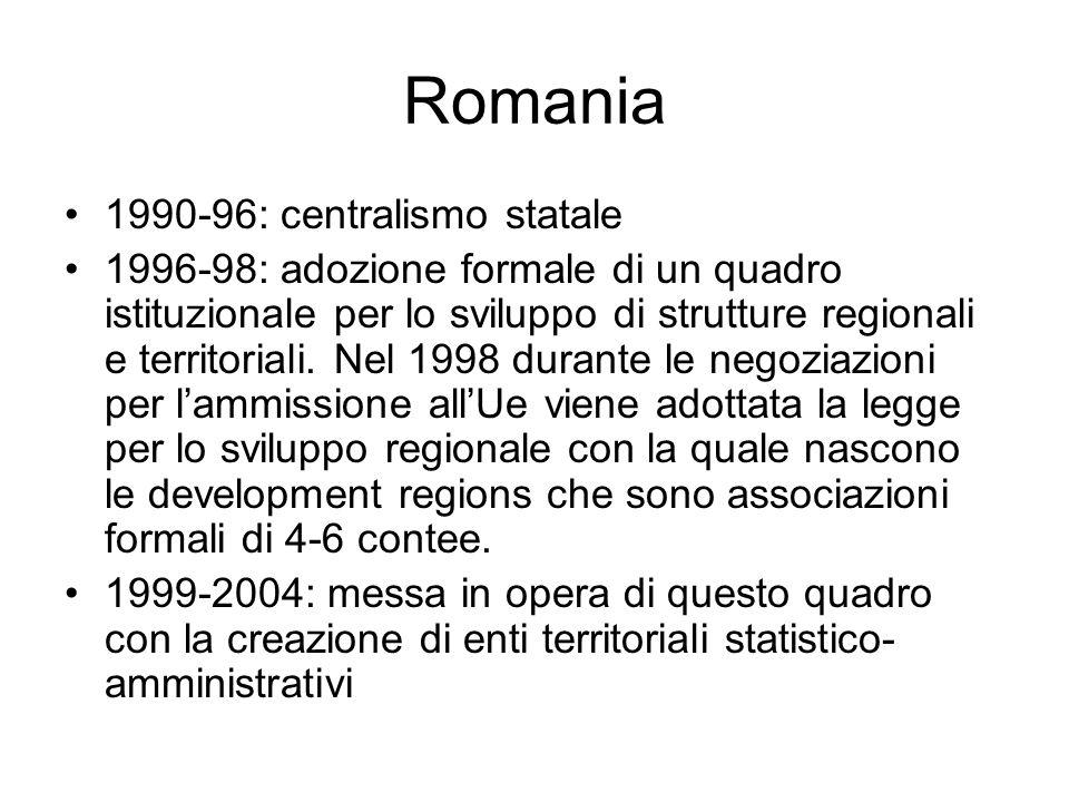 Repubblica Ceca 1997: passa la legge che istituisce 14 regioni (Kraje) 2000: ne vengono definiti per legge poteri e regole elettive Nel 1998 vengono definiti 8 NUTS II denominati regioni di coesione governati da altrettanti Comitati per la gestione ed il monitoraggio regionale ed i cui membri sono direttamente nominati dal ministero per lo sviluppo regionale