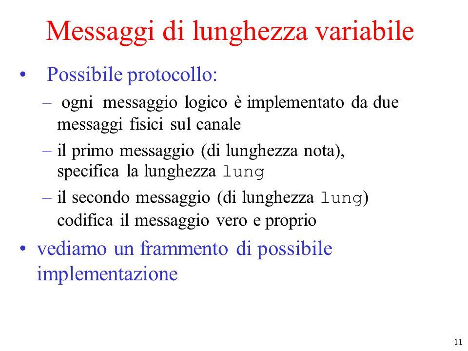 11 Messaggi di lunghezza variabile Possibile protocollo: – ogni messaggio logico è implementato da due messaggi fisici sul canale –il primo messaggio (di lunghezza nota), specifica la lunghezza lung –il secondo messaggio (di lunghezza lung ) codifica il messaggio vero e proprio vediamo un frammento di possibile implementazione