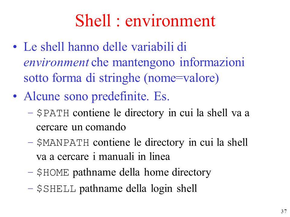 37 Shell : environment Le shell hanno delle variabili di environment che mantengono informazioni sotto forma di stringhe (nome=valore) Alcune sono predefinite.
