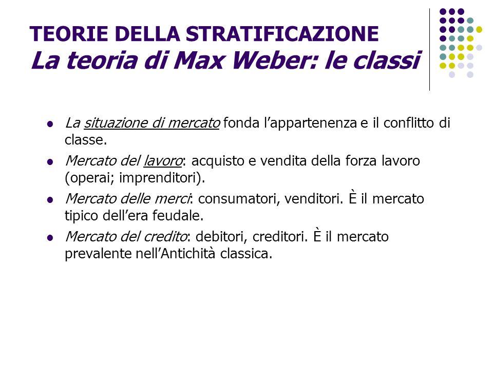 TEORIE DELLA STRATIFICAZIONE La teoria di Max Weber: le classi La situazione di mercato fonda l'appartenenza e il conflitto di classe. Mercato del lav