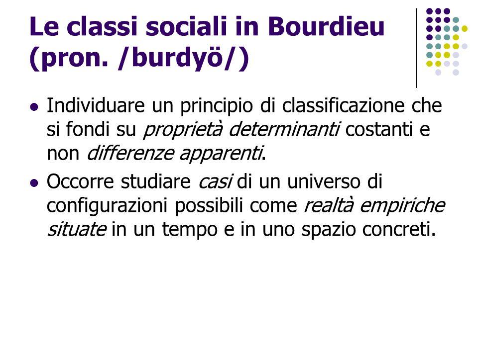 Le classi sociali in Bourdieu (pron. /burdyö/) Individuare un principio di classificazione che si fondi su proprietà determinanti costanti e non diffe