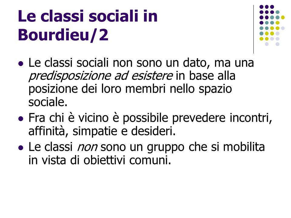 Le classi sociali in Bourdieu/2 Le classi sociali non sono un dato, ma una predisposizione ad esistere in base alla posizione dei loro membri nello sp