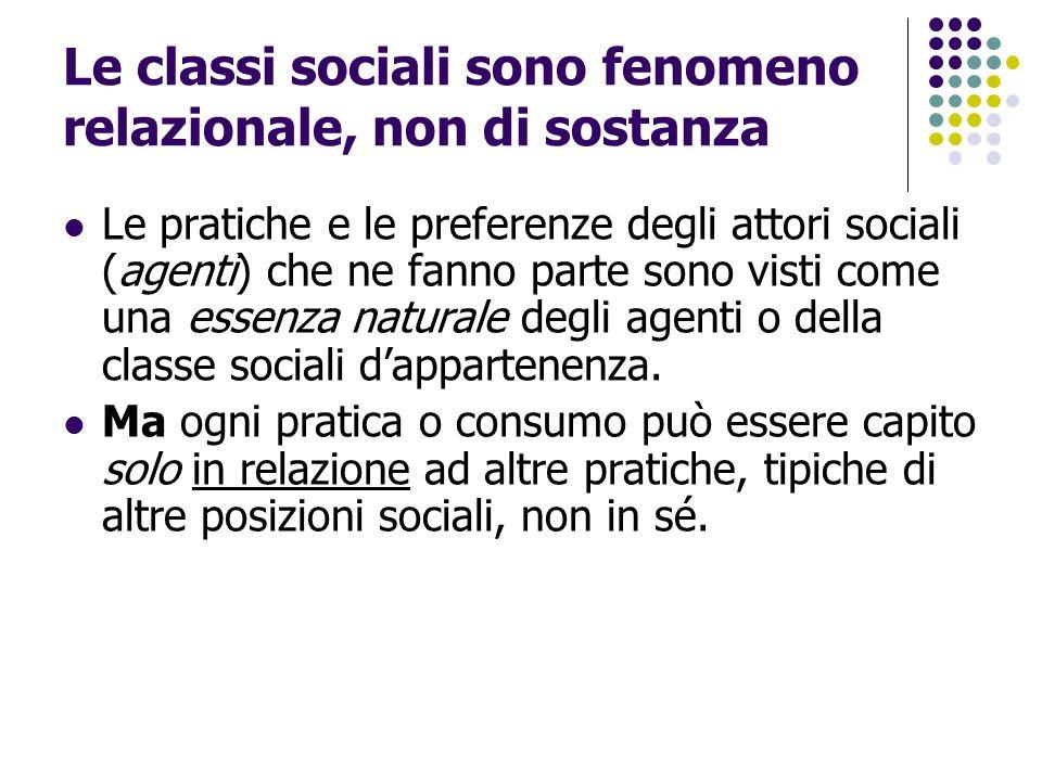Le classi sociali sono fenomeno relazionale, non di sostanza Le pratiche e le preferenze degli attori sociali (agenti) che ne fanno parte sono visti c