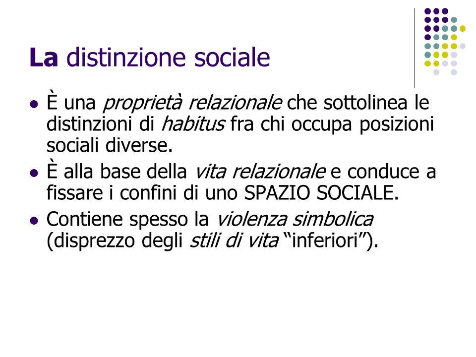 La distinzione sociale È una proprietà relazionale che sottolinea le distinzioni di habitus fra chi occupa posizioni sociali diverse. È alla base dell