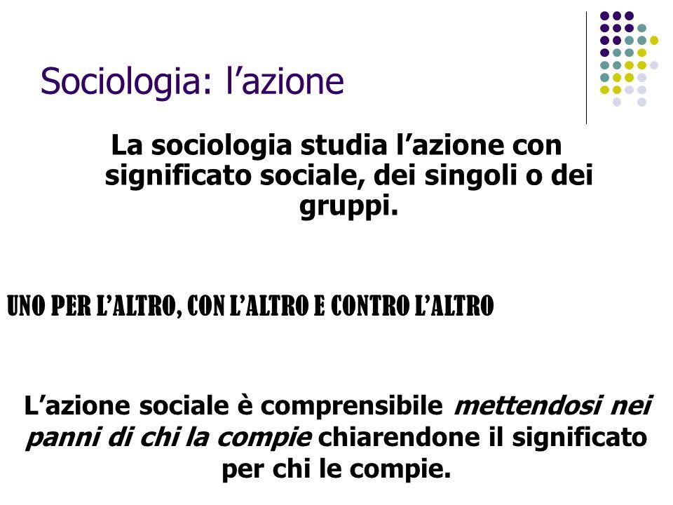 Sociologia: l'azione La sociologia studia l'azione con significato sociale, dei singoli o dei gruppi. L'azione sociale è comprensibile mettendosi nei