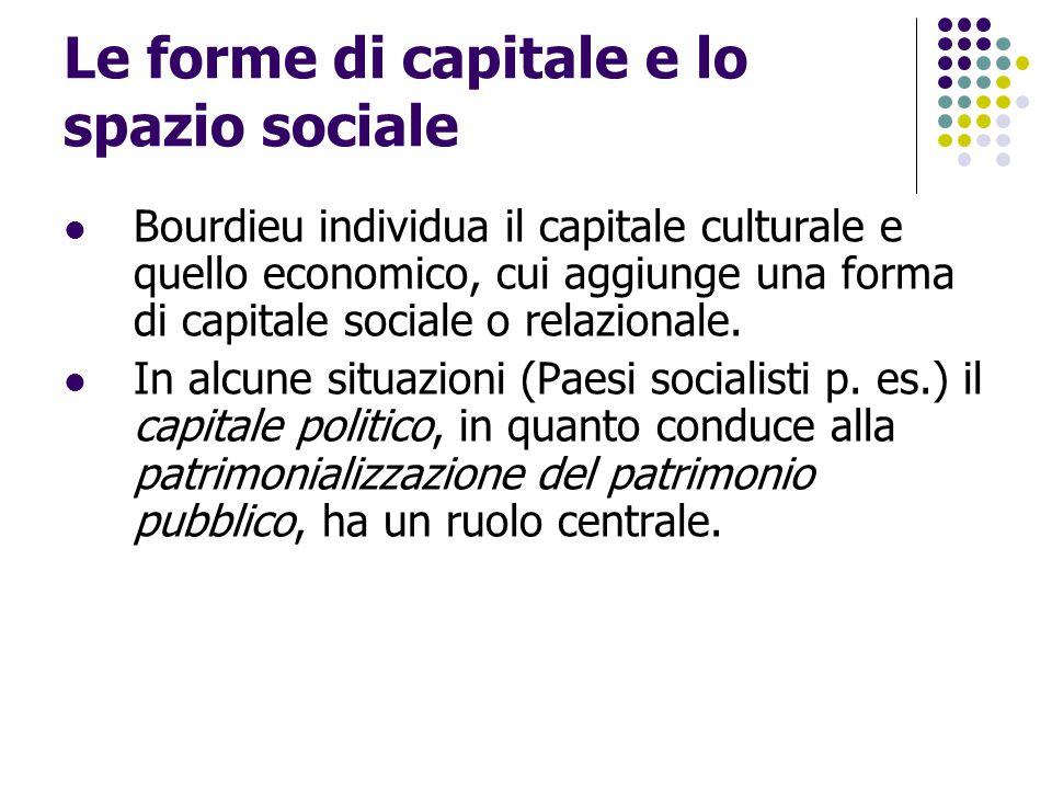 Le forme di capitale e lo spazio sociale Bourdieu individua il capitale culturale e quello economico, cui aggiunge una forma di capitale sociale o rel