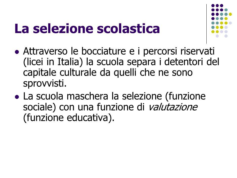 La selezione scolastica Attraverso le bocciature e i percorsi riservati (licei in Italia) la scuola separa i detentori del capitale culturale da quell