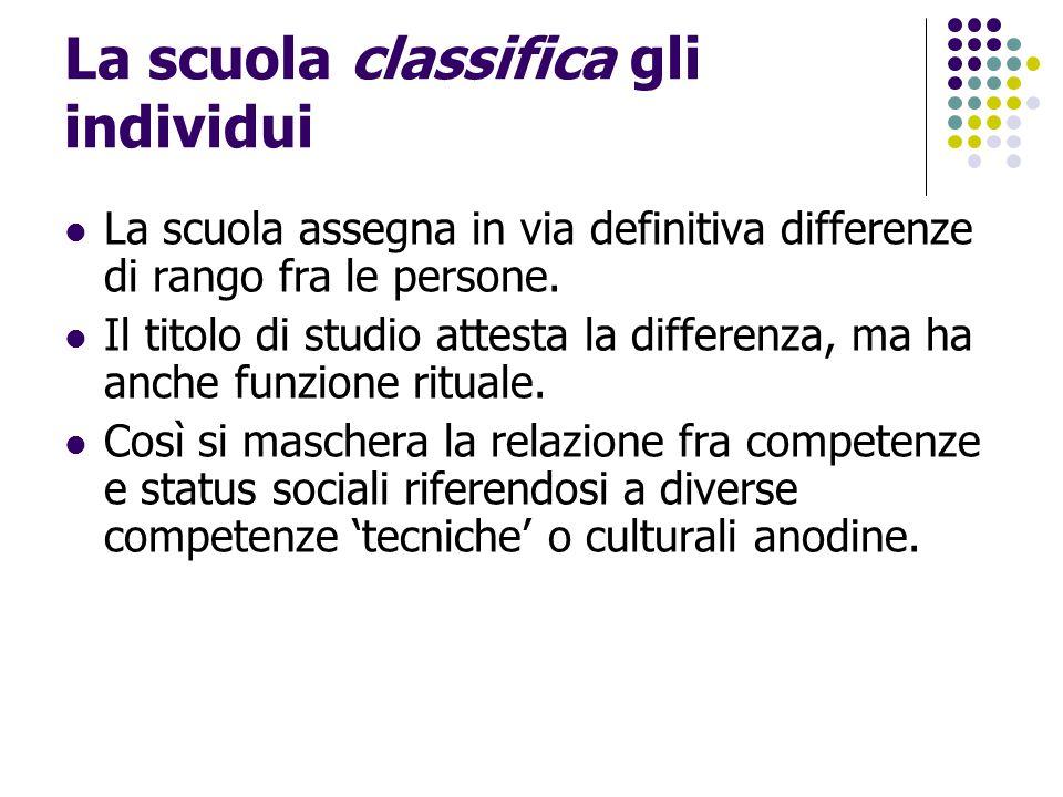 La scuola classifica gli individui La scuola assegna in via definitiva differenze di rango fra le persone. Il titolo di studio attesta la differenza,