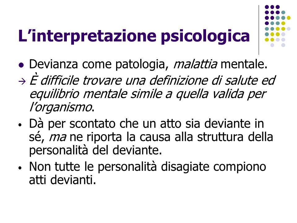 L'interpretazione psicologica Devianza come patologia, malattia mentale.  È difficile trovare una definizione di salute ed equilibrio mentale simile