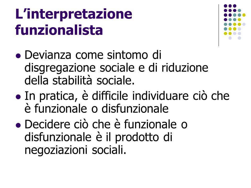 L'interpretazione funzionalista Devianza come sintomo di disgregazione sociale e di riduzione della stabilità sociale. In pratica, è difficile individ