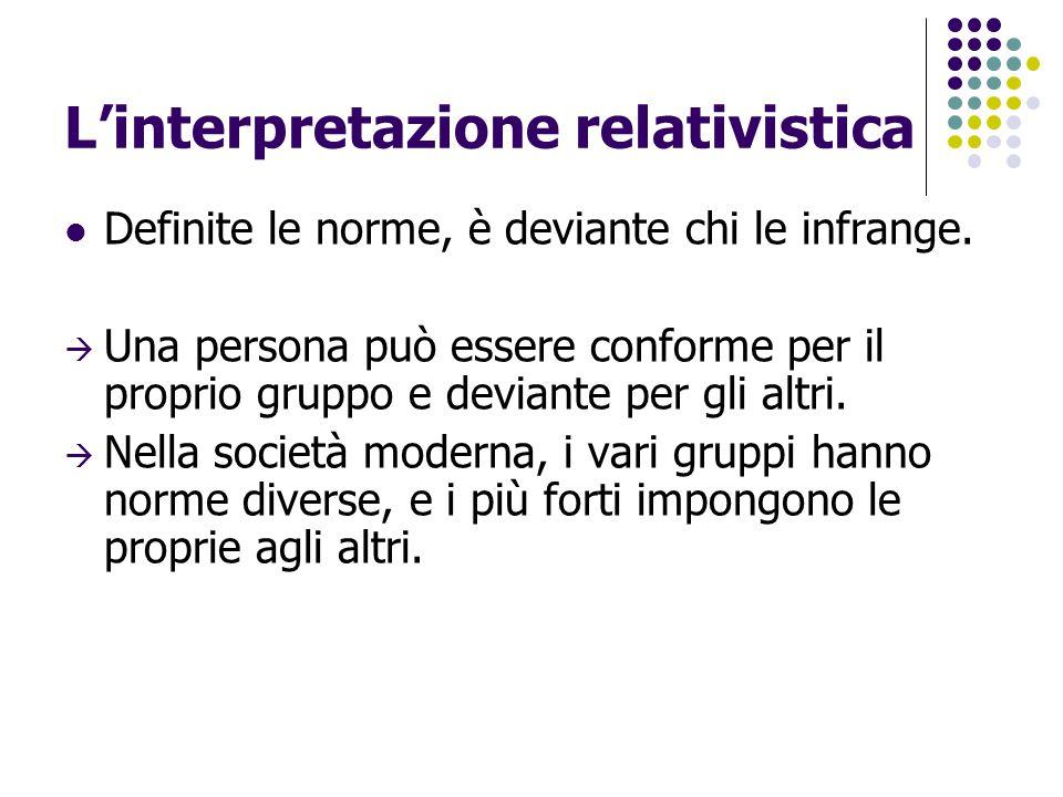 L'interpretazione relativistica Definite le norme, è deviante chi le infrange.  Una persona può essere conforme per il proprio gruppo e deviante per