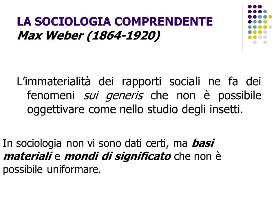 LA SOCIOLOGIA COMPRENDENTE Max Weber (1864-1920) L'immaterialità dei rapporti sociali ne fa dei fenomeni sui generis che non è possibile oggettivare c