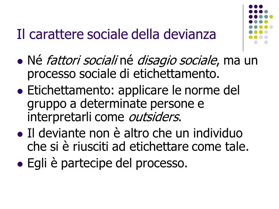 Il carattere sociale della devianza Né fattori sociali né disagio sociale, ma un processo sociale di etichettamento. Etichettamento: applicare le norm