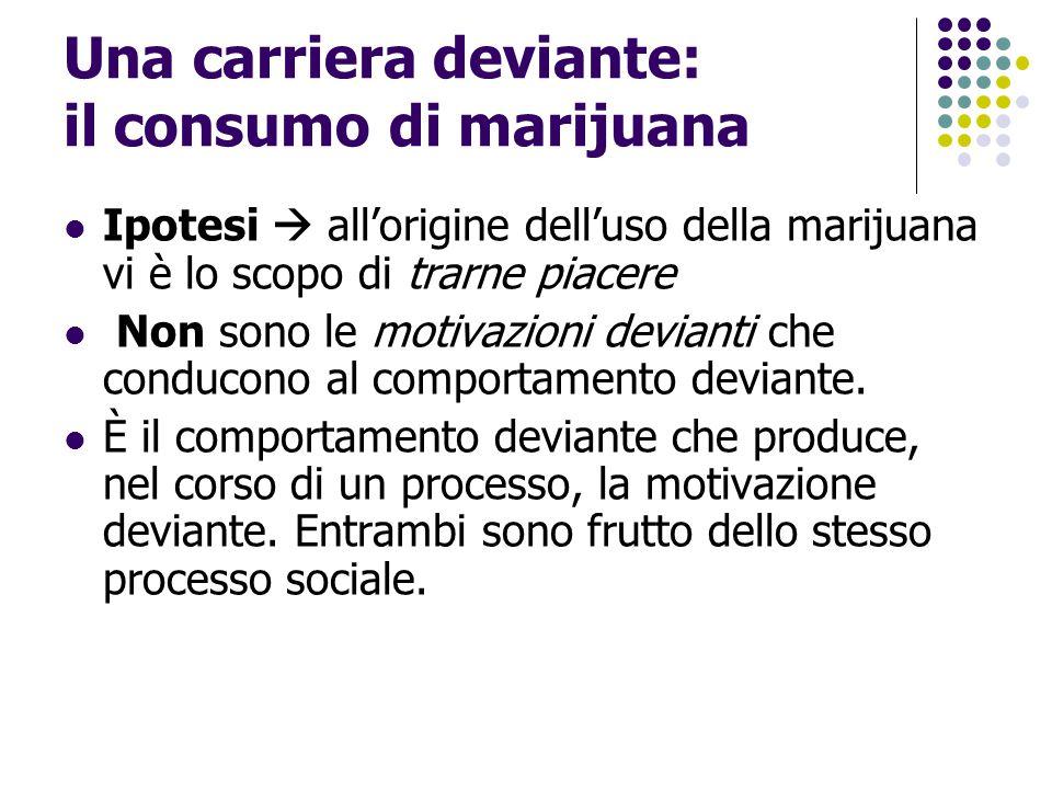 Una carriera deviante: il consumo di marijuana Ipotesi  all'origine dell'uso della marijuana vi è lo scopo di trarne piacere Non sono le motivazioni