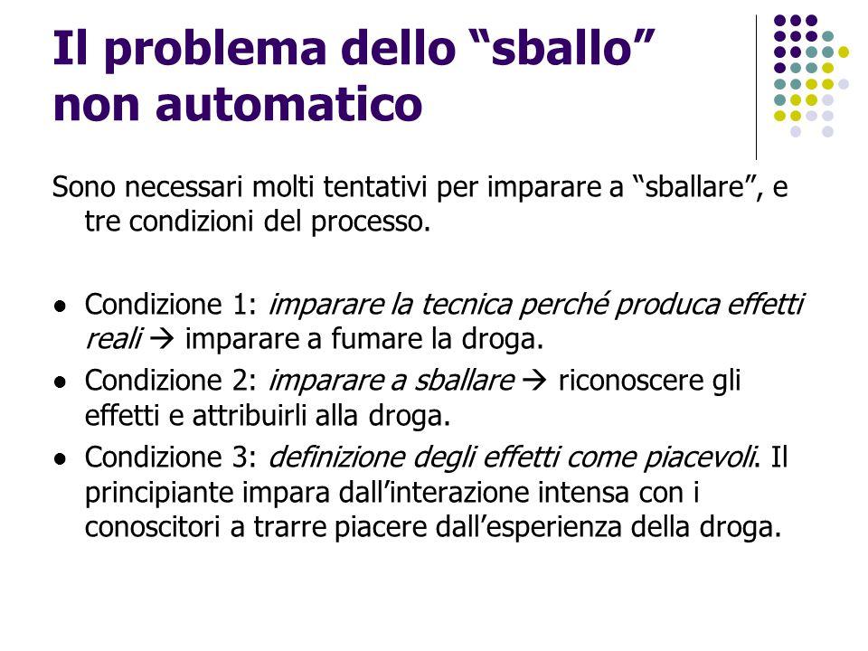 """Il problema dello """"sballo"""" non automatico Sono necessari molti tentativi per imparare a """"sballare"""", e tre condizioni del processo. Condizione 1: impar"""