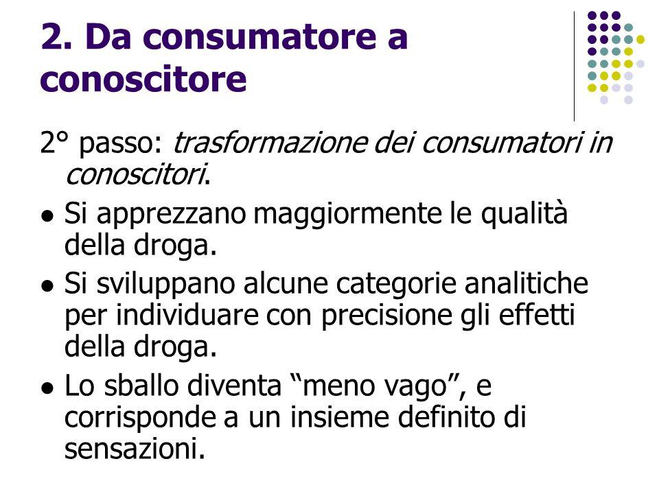 2. Da consumatore a conoscitore 2° passo: trasformazione dei consumatori in conoscitori. Si apprezzano maggiormente le qualità della droga. Si svilupp