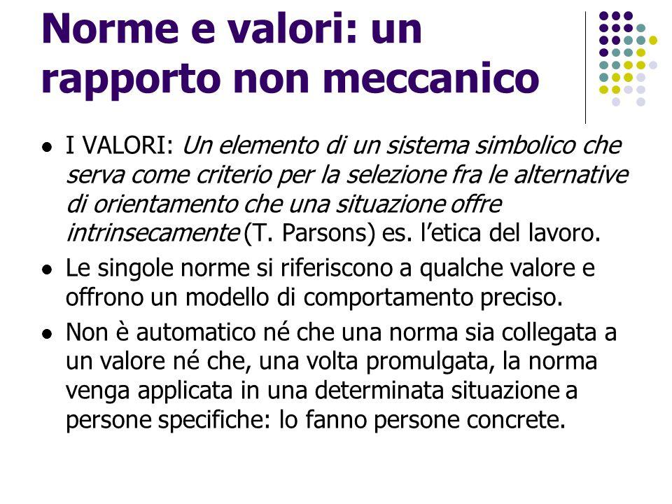 Norme e valori: un rapporto non meccanico I VALORI: Un elemento di un sistema simbolico che serva come criterio per la selezione fra le alternative di