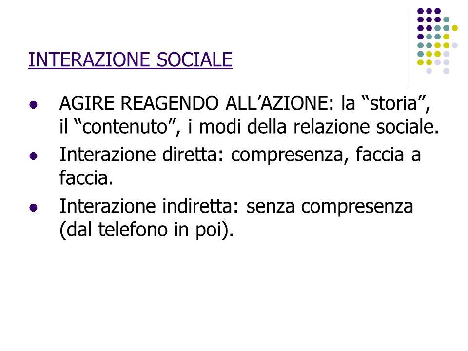 """INTERAZIONE SOCIALE AGIRE REAGENDO ALL'AZIONE: la """"storia"""", il """"contenuto"""", i modi della relazione sociale. Interazione diretta: compresenza, faccia a"""
