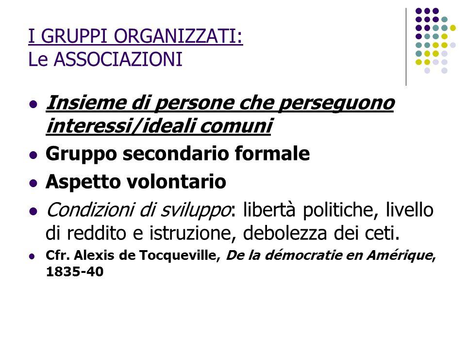 I GRUPPI ORGANIZZATI: Le ASSOCIAZIONI Insieme di persone che perseguono interessi/ideali comuni Gruppo secondario formale Aspetto volontario Condizion