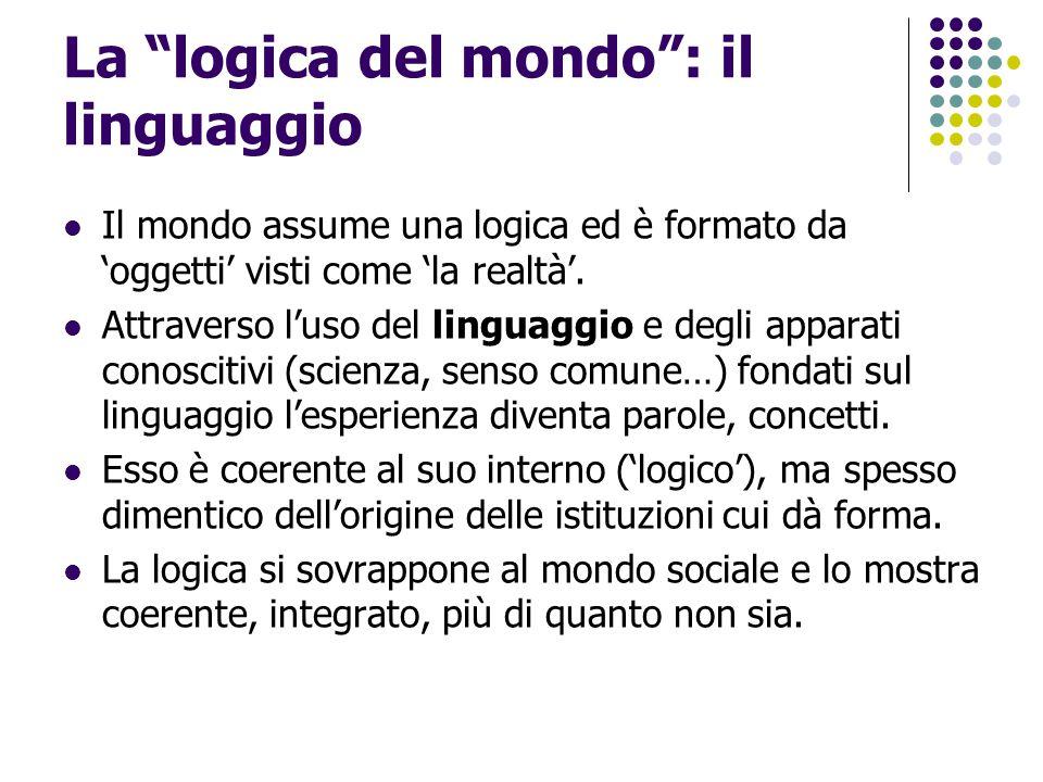 """La """"logica del mondo"""": il linguaggio Il mondo assume una logica ed è formato da 'oggetti' visti come 'la realtà'. Attraverso l'uso del linguaggio e de"""