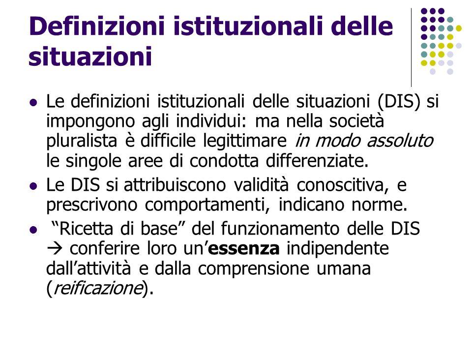 Definizioni istituzionali delle situazioni Le definizioni istituzionali delle situazioni (DIS) si impongono agli individui: ma nella società pluralist