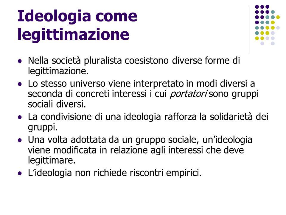 Ideologia come legittimazione Nella società pluralista coesistono diverse forme di legittimazione. Lo stesso universo viene interpretato in modi diver