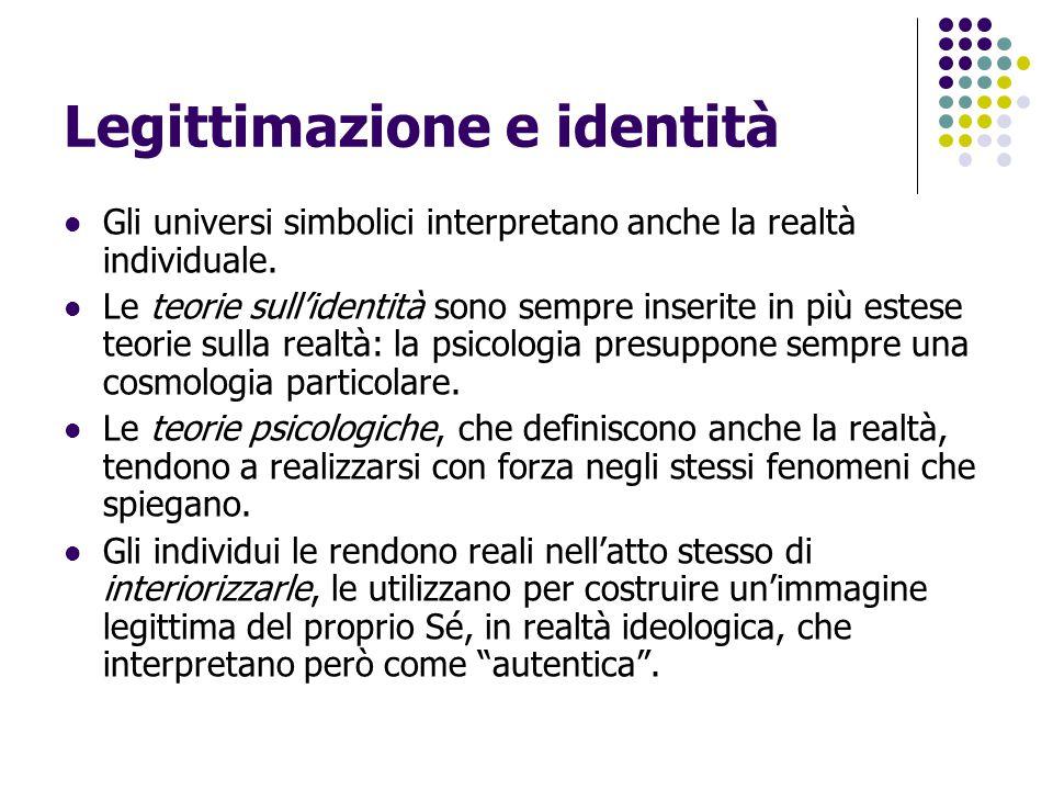 Legittimazione e identità Gli universi simbolici interpretano anche la realtà individuale. Le teorie sull'identità sono sempre inserite in più estese