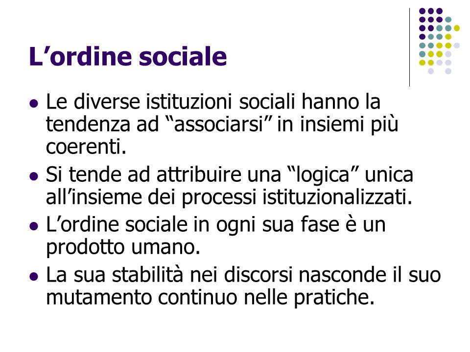 """L'ordine sociale Le diverse istituzioni sociali hanno la tendenza ad """"associarsi"""" in insiemi più coerenti. Si tende ad attribuire una """"logica"""" unica a"""
