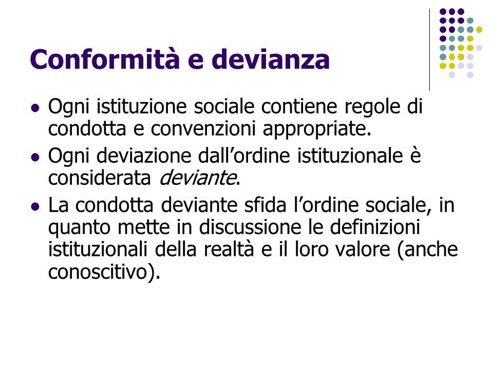 Conformità e devianza Ogni istituzione sociale contiene regole di condotta e convenzioni appropriate. Ogni deviazione dall'ordine istituzionale è cons