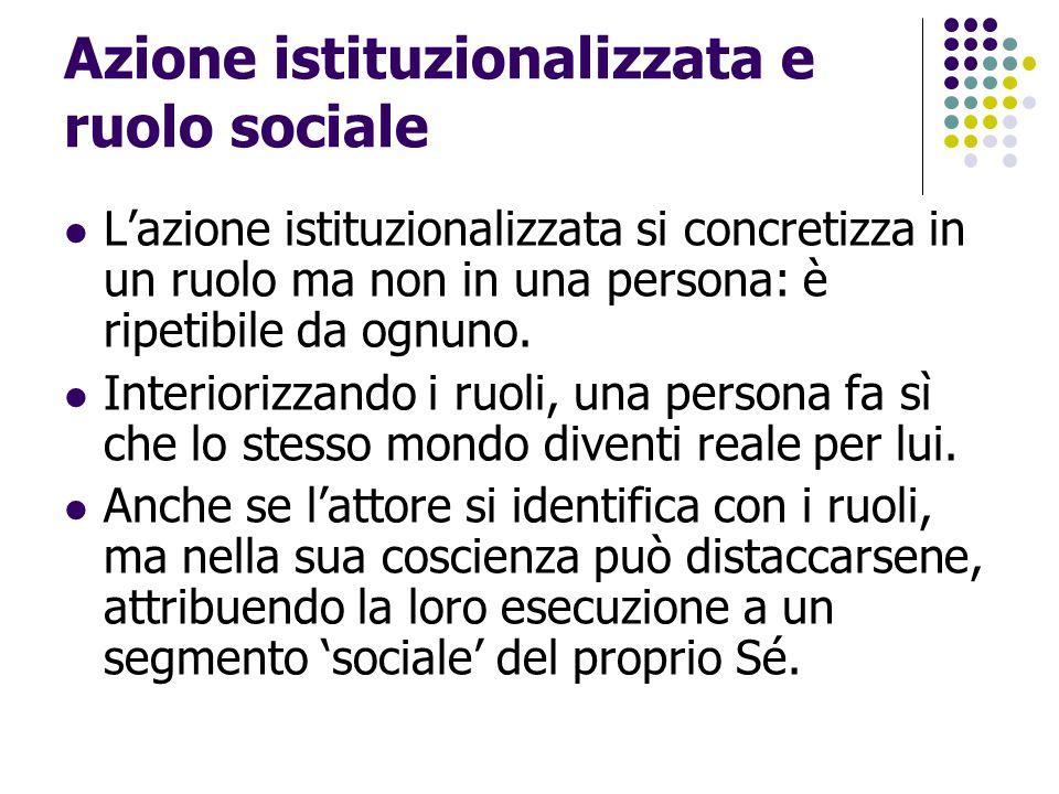 Azione istituzionalizzata e ruolo sociale L'azione istituzionalizzata si concretizza in un ruolo ma non in una persona: è ripetibile da ognuno. Interi
