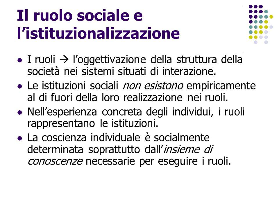 Il ruolo sociale e l'istituzionalizzazione I ruoli  l'oggettivazione della struttura della società nei sistemi situati di interazione. Le istituzioni