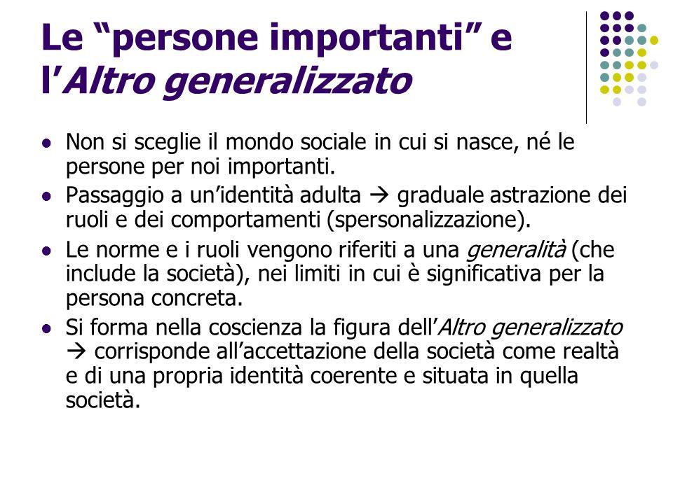 """Le """"persone importanti"""" e l'Altro generalizzato Non si sceglie il mondo sociale in cui si nasce, né le persone per noi importanti. Passaggio a un'iden"""