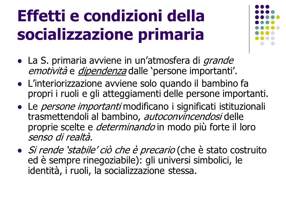 Effetti e condizioni della socializzazione primaria La S. primaria avviene in un'atmosfera di grande emotività e dipendenza dalle 'persone importanti'