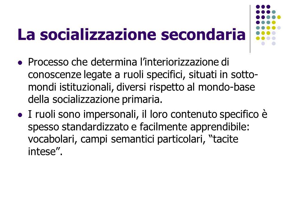 La socializzazione secondaria Processo che determina l'interiorizzazione di conoscenze legate a ruoli specifici, situati in sotto- mondi istituzionali