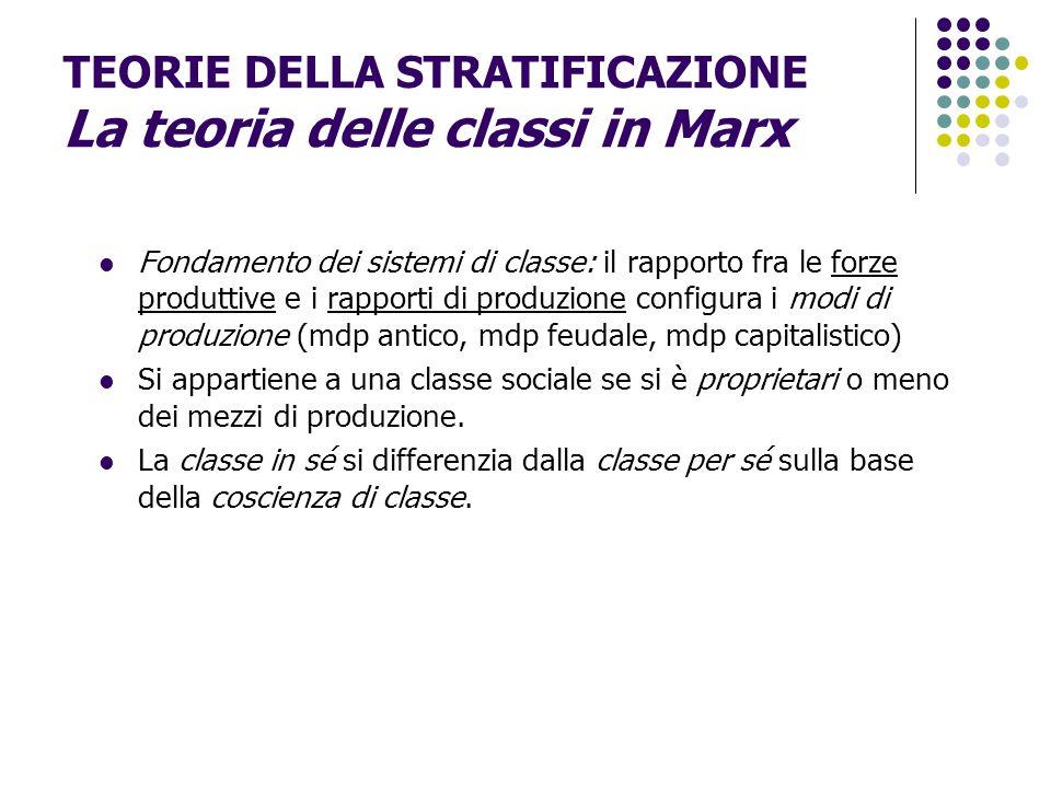 TEORIE DELLA STRATIFICAZIONE La teoria delle classi in Marx Fondamento dei sistemi di classe: il rapporto fra le forze produttive e i rapporti di prod