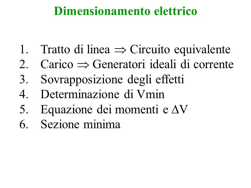 Dimensionamento elettrico 1.Tratto di linea  Circuito equivalente 2.Carico  Generatori ideali di corrente 3.Sovrapposizione degli effetti 4.Determin