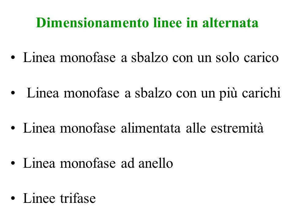 Dimensionamento linee in alternata Linea monofase a sbalzo con un solo carico Linea monofase a sbalzo con un più carichi Linea monofase alimentata all